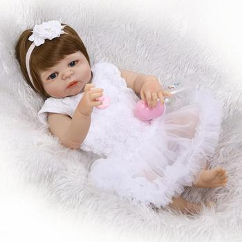 23Inch Full Silicone Reborn Baby girl Newborn Baby Doll Can Bath Lifelike Baby Alive Girls Dolls Kids Bonecas