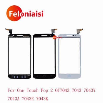 "5.0 ""Alcatel One Touch Pop 2 OT7043 7043 7043Y 7043A 7043E 7043 K Dokunmatik Ekran Digitizer Sensörü Ön Dış Cam Lens Panel"