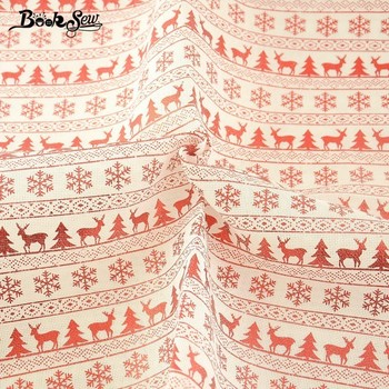 Booksew Linen Fabric Red Printed Quilting Christmas Theme Style Table Cloth Home Decoration Sewing Art Work Crafts 50X150cm
