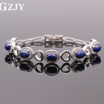GZJY Elegant Lapis Lazuli &AAA Zircon Hollow out Heart White Gold Color Bracelet Bangles Jewelry For Women