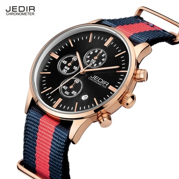 JEDIR Chronograph Nylon Watch Men Watches Luxury Auto Date Quartz Casual Sports Wristwatch Canvas Wristwatch relogio masculino