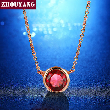 Top Quality ZYN453 Simple Style One Red Crystal Necklace Rose Gold Color Fashion Jewellery Nickel Free Pendant Crystal